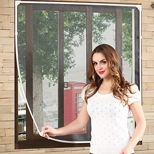 NeatiEase DIY Insektenschutz Magnetfenster,Max 150 x 180 CM,Magnet Rahmen für Fliegengitter Fenster Mückengitter,Fliegenschutz Insektenschutzgewebe Zuschneidbar(weiß Rahmen schwarz masche)