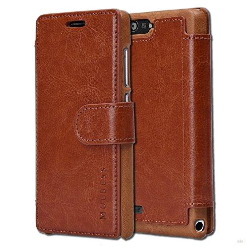 Mulbess Layered Dandy Ledertasche im Bookstyle & Kartenfach für Huawei P7 Mini hülle Tasche Leder,Vintage Braun