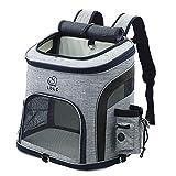 BLUE CHARM Hund und Katze Rucksack, mit Netz, belüftet, geeignet für kleine und mittlere Hunde und...