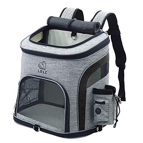 REAYOU Haustier Reise Rucksack Haustier Rucksäcke haustiertragetasche Atmungsaktive Outdoor Faltbarer für Hunde und Katzen (Black-L)