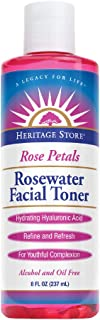 Heritage Store Rosewater Facial Toner w/Hyaluronic Acid | Hydrates & Refreshes Skin | No Dyes or Alcohol, Vegan | 8oz