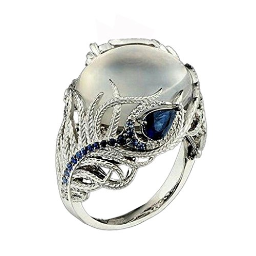 WensLTD_ 1PC Boho Jewelry Silver Natural Gemstone Marquise Moonstone Personalized Ring (#7, Silver)