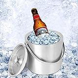 アイスバケット、3L厚手ステンレスビールワインバケットシャンパンバケットワインボトルクーラー、ハンドル、蓋付き、バーベキュー、バー、ホーム