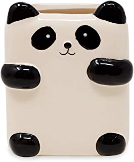 Isaac Jacobs Black and White Ceramic Makeup Brush Holder, Multi-Purpose Cup Organizer. Bathroom, Kitchen, Bedroom, Office Décor (Single Cup, Panda)