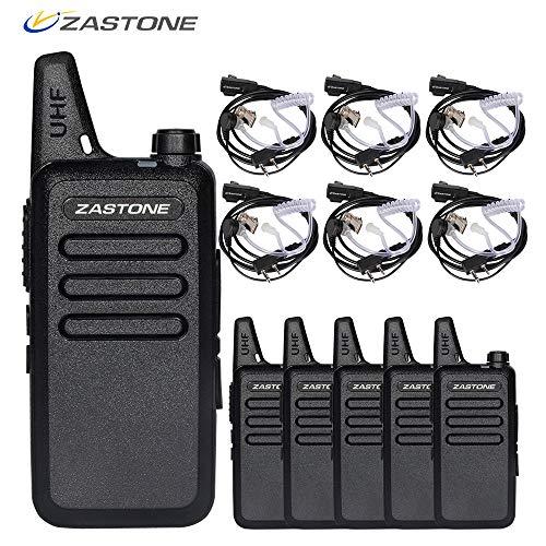 Zastone X6 Radios de Dos vías Recargables de Largo Alcance con Auricular 6 Paquetes de 3W de 16 Canales UHF 400-470Mhz Walkie Talkies