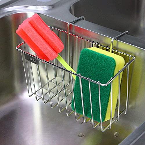 Soporte para esponja de cocina, aiduy fregadero Caddy cepillo para polvo jabón líquido Escurridor de Lavado rack–Acero inoxidable