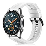 Fintie Correa Compatible con Huawei Watch GT 2 / Huawei Watch GT 46mm Sport/Classic/Active/Elite - Pulsera de Repuesto de Silicona Suave Banda Deportiva, Blanco