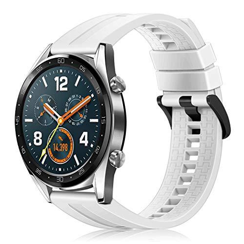 Fintie, armband, compatibel met Huawei Watch GT/Huawei Watch GT 2, Huawei Watch GT Active SmartWatch, siliconen, horlogeband, verstelbare reserveband met roestvrijstalen gespen