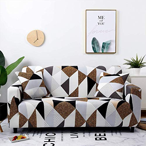 Seago Stretch Large Sofa Slipcovers Print Sofa Cover Fitted Couch Cover for 2 Cushion Couch (with 2 Pillowcases for Free), Loveseat