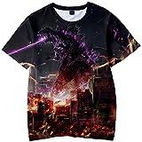 Pandolah 子供用 キッズ Tシャツ 3Dプリント ゴジラ キング・オブ・モンスターズ 半袖 カジュアル (110、城市激戦)