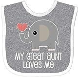 Inktastic Great Aunt Loves Me Elephant Baby Bib Heather/White