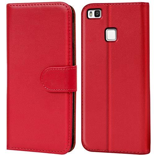 Verco P9 Lite Hülle, Handyhülle für Huawei P9 Lite Tasche PU Leder Flip Hülle Brieftasche - Rot