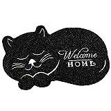 Hankyky - Felpudo de Bienvenida con diseño de Gato Dormido, Alfombrilla de Entrada para Interior/Exterior/Puerta Delantera/baño de Goma Antideslizante