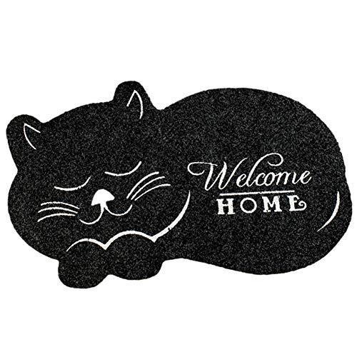 Hankyky - Felpudo de bienvenida para gatos y gatos, alfombrilla de entrada, alfombrilla para el suelo de interior y exterior, de goma antideslizante