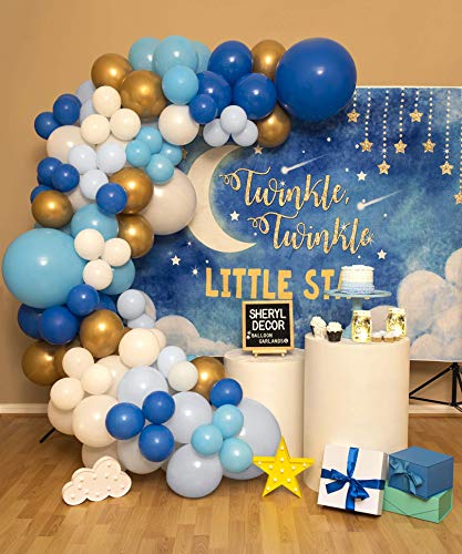 110pc 3 Size– Dark Blue Balloon Garland Kit – Small and Big Blue and White Balloon Arch Kit – Gold, Baby Blue, Pastel Light Blue, Royal Blue and White Balloons for Baby Boy Shower Birthday Party
