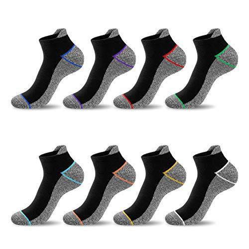 Newdora Socken Herren 37-42, 8 Paar Sportsocken Herren mit Sohle und Knöchel für Fitness, Joggen und Zuhause
