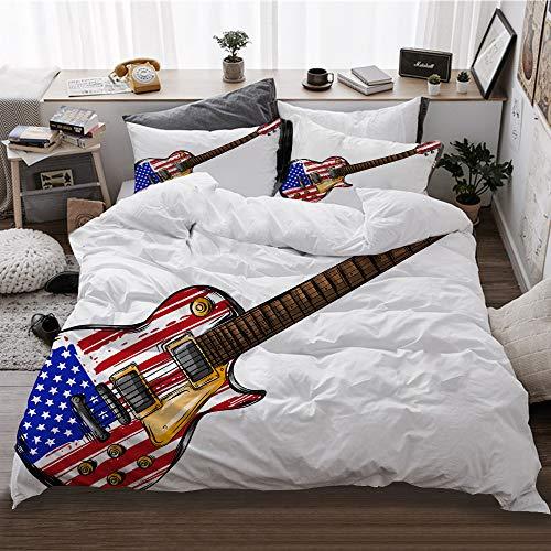 HATESAH Funda De Edredón,Guitarra Eléctrica Bandera Americana,3 Pcs Ropa de Cama Funda...