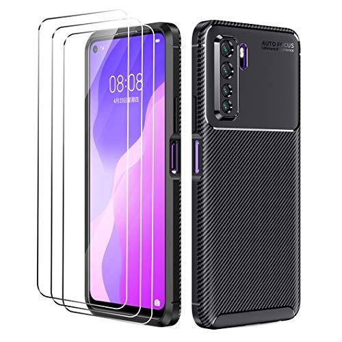 Oududianzi - Hülle für Huawei P40 lite 5G + [3X Panzerglas Bildschirmschutzfolie], [Kohlefaser-Textur] Robuste Rüstung Weich Schlank TPU-Silikon Hülle - Schwarz