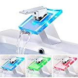 ROVATE Bathroom Sink LED Glass Faucet, RBG 3 Colors Light Waterfall Single Handle Single Hole Mixer Tap/Faucet, Polished Chrome
