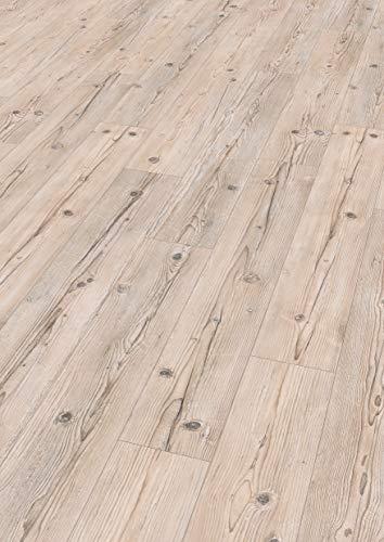 Egger Home Comfort Fußboden EHC010 Sonnberg Fichte (8 mm, 1,995m²) | authentische Holzoptik | Kork Laminat mit Trittschalldämmung | Einfache Verlegung durch CLIC It System | Warm & leise, hellbraun