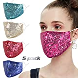 Sequin Bling Face Mask with Adjustable Ear Loops for Women Sparkle Glitter Cover Diamond Bedazzled Crystal Decorative Covering Fashion Purple Washable Reusable Protection Designer Madks Facemask