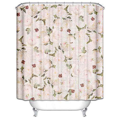 Knbob Duschvorhang Duschkabine Blume Muster Duschvorhänge Bunt Duschvorhänge Ringe 180X180CM