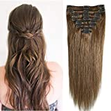 Clip in Hair Extension Human Hair 100% Real Remy Hairpiece Straight Full Head 8 Pieces (8'-65g 06# Light Brown)