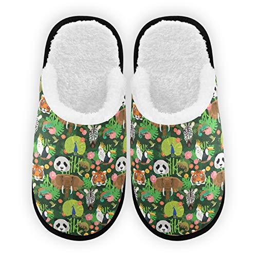 Zapatillas para hombre y mujer, diseño de animales, forro de felpa, cómodas, cálidas, de forro polar coral, para interiores y exteriores, para spa