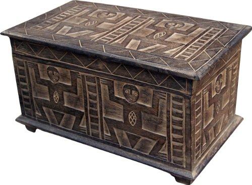 Guru-Shop Handbeschnitzte Balsaholz Truhe in 3 Größen, Größe: 17x60x15 cm, Truhen, Kisten, Koffer