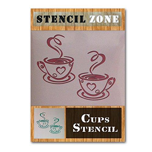 Kaffee-Tee-Becher Home Küche Mylar Gemälde-Wand-Kunst-Schablone (A4 Größe Stencil - Small)