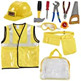 Kids Role Play Costume Set - 10-Piece Construction Worker Costume for Kids, Builder Dress Up Kit with Hard...