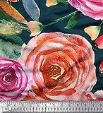 Soimoi Blau Seide Stoff Blätter & Rose Blume Dekor Stoff