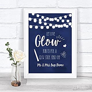 Navy Blue Watercolour Lights Let Love Glow Glowstick Personalized Wedding Sign