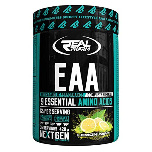 Real Pharm EAA 420g - 35 Servings - Anticatabolic Performance - Complete Formula, 9 Essential Amino Acids - 12g per Serving (Orange)