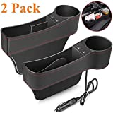 Car Seat Gap Organizer,Premium Console Side Pocket with 2 USB Charging,Leather Storage Box,Multifunctional with Dual USB Charging,Cup Holder,Car Seat Gap Filler,for Cellphones Wallet Coin Key (2 Pack)