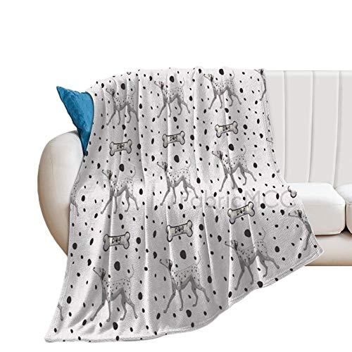Manta de forro polar, 177,8 x 203,2 cm, parches de cachorro dálmata, huesos de perro, amigos leales y compañeros de animales patas gráficos, y perla, manta de cama suave de microfibra
