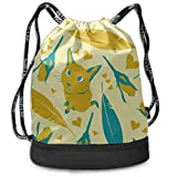 OKIJH Mochila Mochila de ocio Mochila con cordón Mochila multifuncional Bolsa de gimnasio Woman Backpack Feather Cartoon Cat Animal Gym Drawstring Bags Backpack Sports String Bundle Backpack For Sport