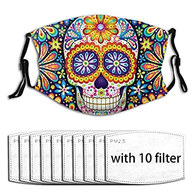 Sugar Skull Reusable Activated Carbon Filter Face Shield With 10 Filter Replaceable for Men Women