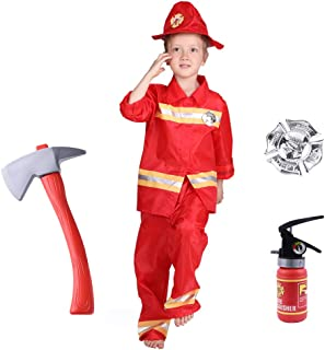 Familus Firefighters Costume for Kids, Toys for Fireman Party Fire Chief Role Play