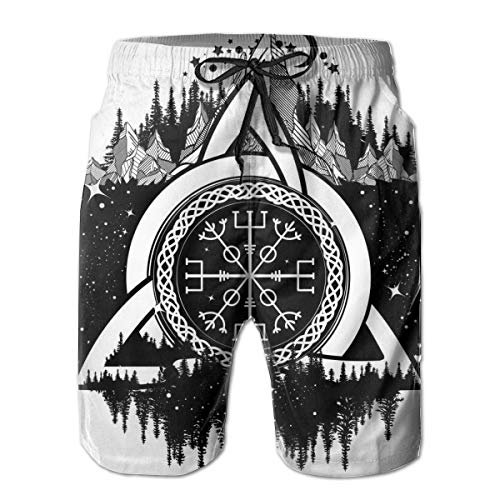 Generies Mens Swim Trunks Celtic Boho Print Mens Bathing Suits Quick Dry Swim Shorts with Mesh Lining and Pockets White