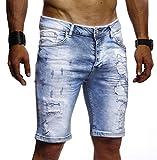 Leif Nelson Herren Männer Jungen Sommer Kurze Biker Jogger Jeans Hose Shorts Jeanshose Chinos Cargo Bermuda Basic 5-Pocket Destroyed Used Stretch Freizeithose Denim Slim Fit LN1977; W31; Hell Blau