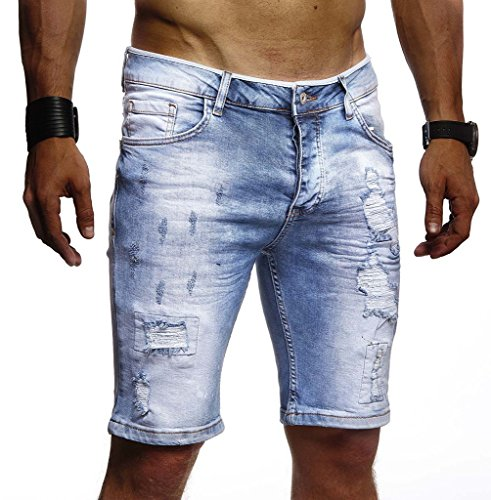 Leif Nelson Herren Männer Jungen Sommer Kurze Biker Jogger Jeans Hose Shorts Jeanshose Chinos Cargo Bermuda Basic 5-Pocket Destroyed Used Stretch Freizeithose Denim Slim Fit LN1977; W34; Hell Blau