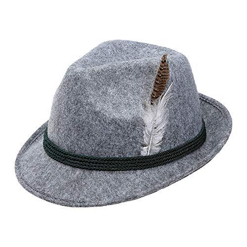 Widmann 68576 Bayerischer Hut mit Feder, Unisex– Erwachsene, Grau