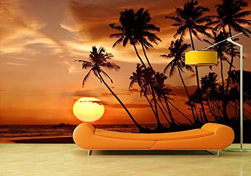 Muurschildering Muurschildering Fotobehang Zonsondergang Tropische Strand 3D Behang Muurschildering Slaapkamer Woonkamer Tv Achtergrond Fresco 150 x 105 cm.