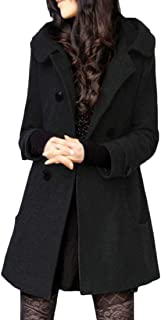 QianQian-AU Womens Casual Double Breasted Wool Blend with Hood Mid Long Trench Coat