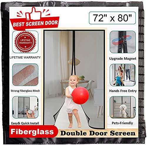 "[upgrade] magnetic screen door closure fit door size 72"" x 80"", mkicesky reinforced fiberglass double mesh curtain, front patio door mesh mosquito net with full frame hook&loop, keep bugs out..."