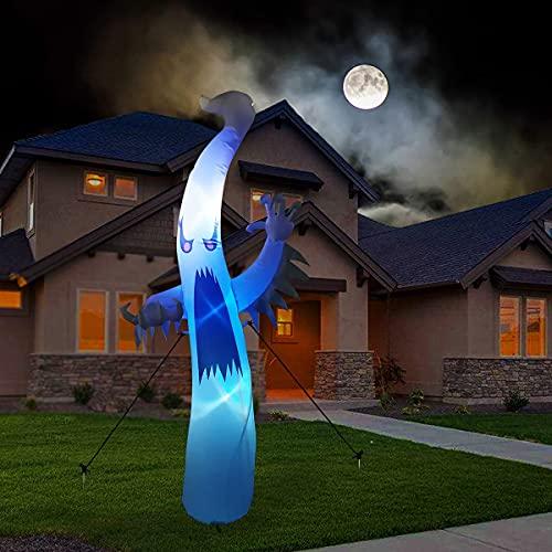 GOOSH 12 FEET Halloween Decorations Outdoor Lights Ghost,Halloween Blow up Yard Decorations White Ghost Indoor ,Outdoor, Tree, Yard ,Garden ,Lawn Decorations