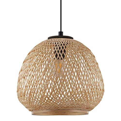 EGLO Dembleby Pendant Light 1 Bulb Vintage Natural Hygge Hanging Light Wooden Basket Braided Dining Table Lamp Living Room Lamp Hanging Light Brown Steel E27 Socket Black Natural