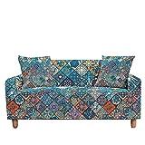 WXQY Funda de sofá elástica Mandala, Funda de sofá Totalmente Envuelta, Funda de sofá Modular en Forma de L, Funda de sofá A1, 3 plazas
