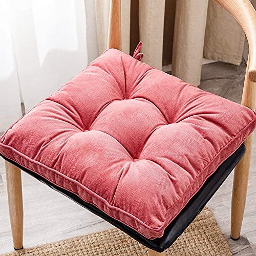 AMYZ Confezione da 2,Cuscino per Sedia in Velluto a Coste Cuscino per Sedile da Ufficio Cuscino per Sedia Quadrato Reversibile e Lavabile,17 x 17 Pollici (Rosso Anguria)